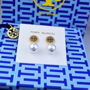 Tory Burch Gold Full Diamond Pearl Earrings